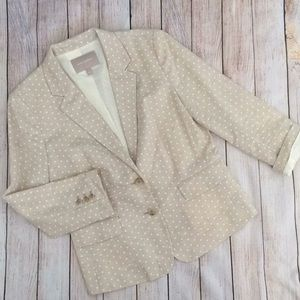 Banana Republic 10 Polka Dot Blazer Suit Top Ivory